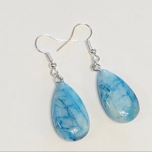 Pretty As the Sky Is Blue Agate Silver Earrings